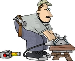 Carpenter Man Bending Over a Power Saw to Cut Wood Clipart